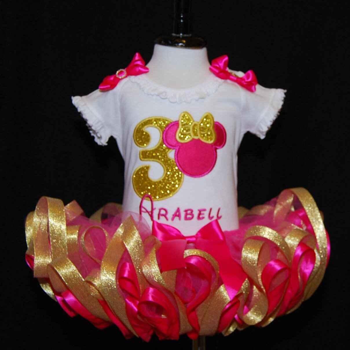 Birthday Tutu Shocking Pink and Gold Minnie Mouse Third Birthday Tutu Outfi 2 pieces