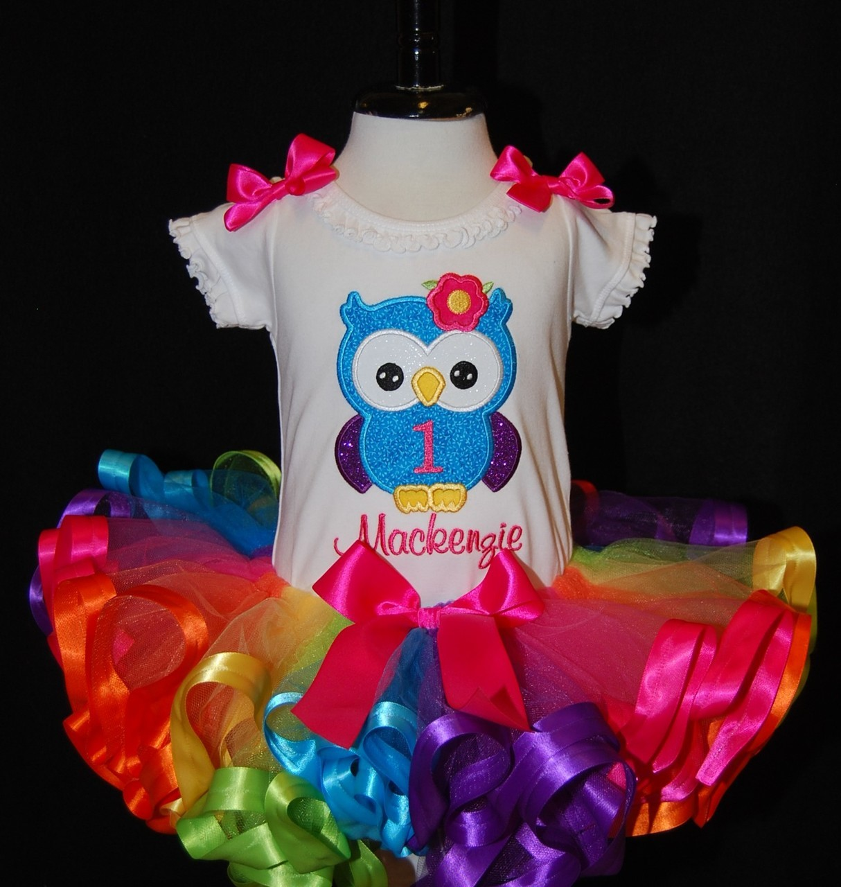 birthday tutu outfit -1st birthday girl outfit with a rainbow tutu