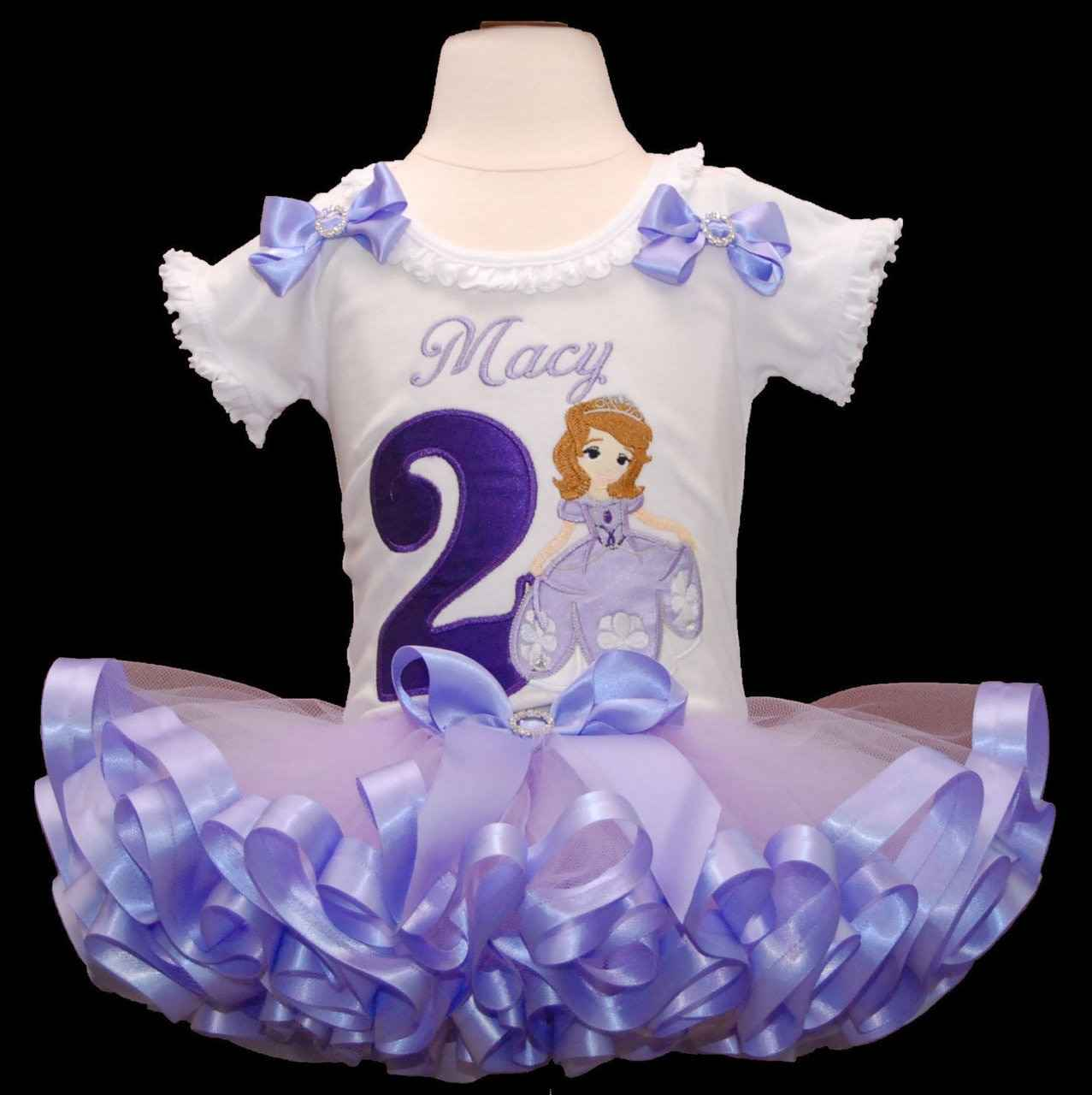 2nd birthday outfit Princess Sofia with a ribbon trimmed tutu