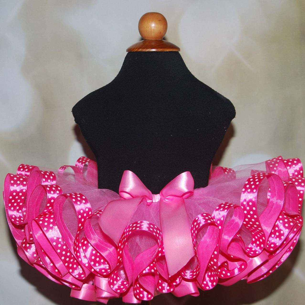 Birthday Tutu Shocking Pink Fluffy Ribbon Trimmed Tutu , Other Colors available