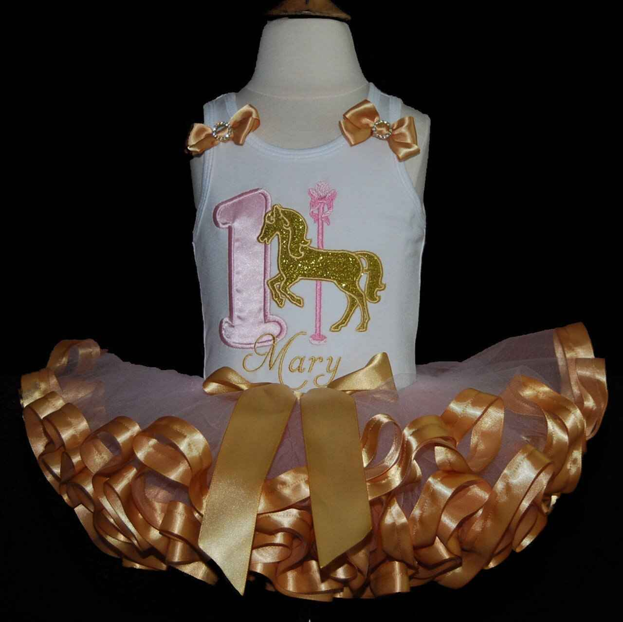 1st birthday outfit glitter carousel horse pink and gold