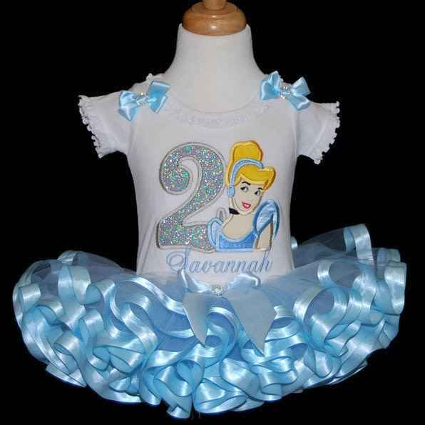 Cinderella 2nd birthday outfit, princess birthday tutu set,  blue  custom birthday outfit, Cinderella Second birthday outfit