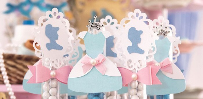 table setting for a  Cinderella birthday party matches the  princess birthday tutu  outfit