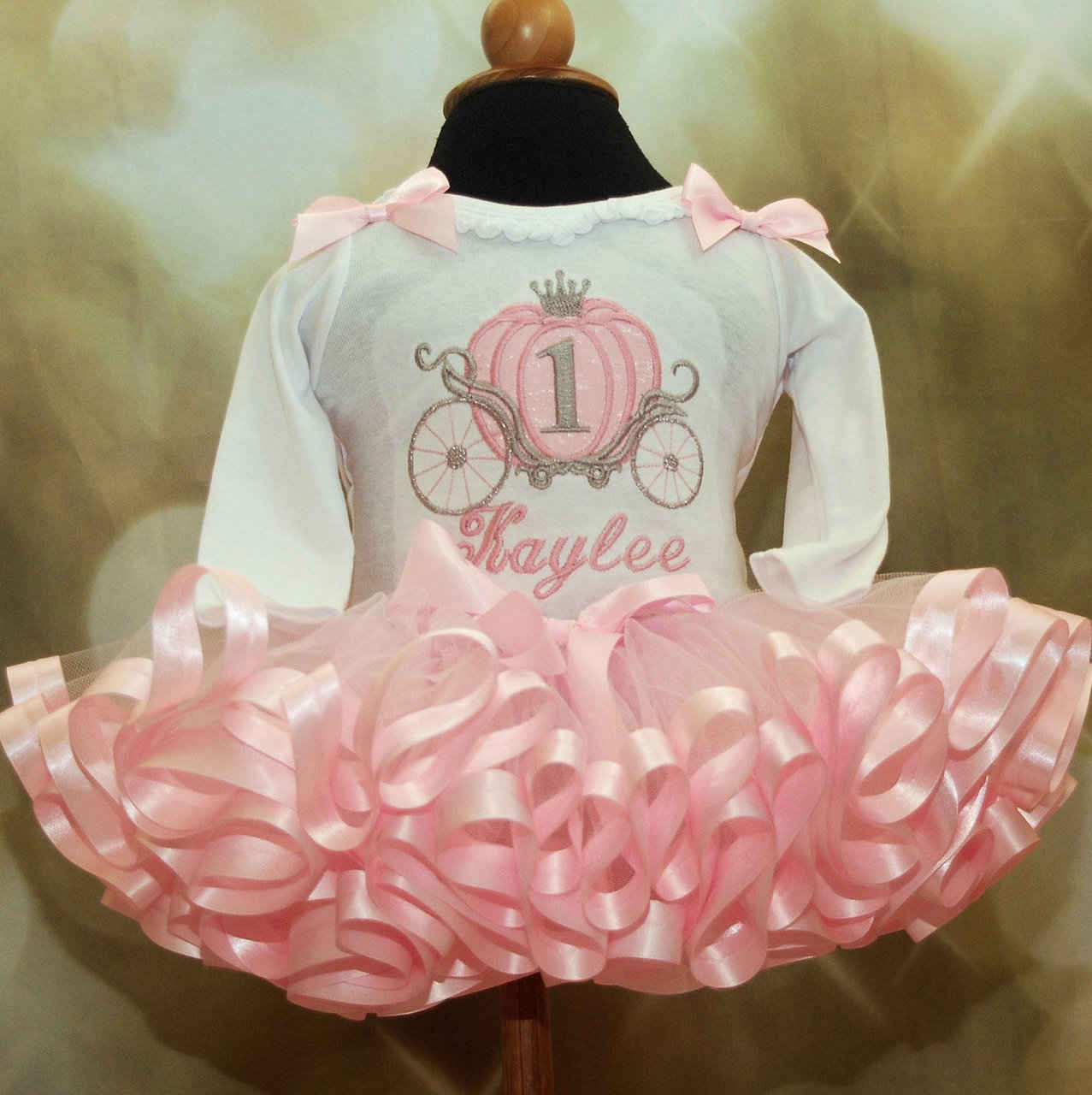 1st birthday girl outfit, Cinderella Carriage long sleeve pink
