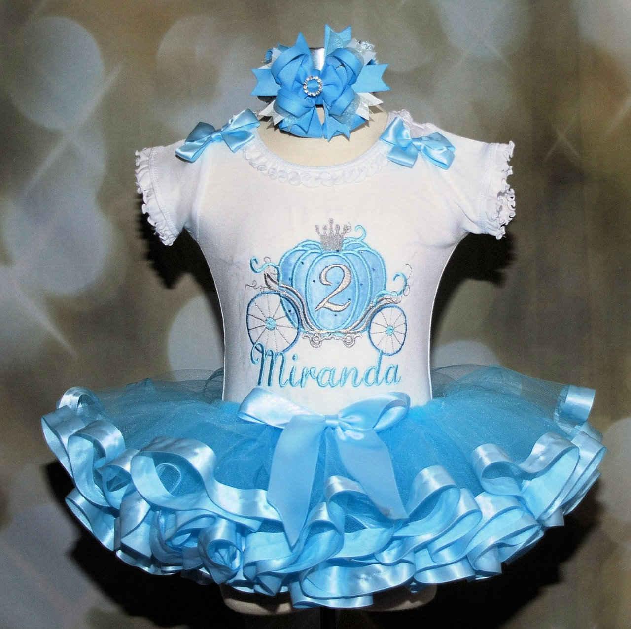 Cinderella Carriage Princess 2nd Birthday Tutu Outfit, Blue and Silver , Baby tutu, Princess 1st birthday tutu outfit-princess-1st-birthday-dress