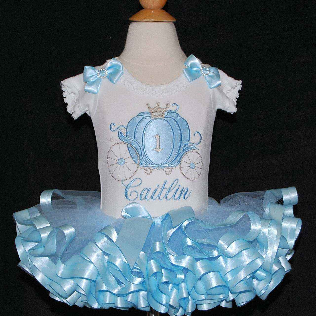 Cinderella carriage princess 1st birthday outfit blue