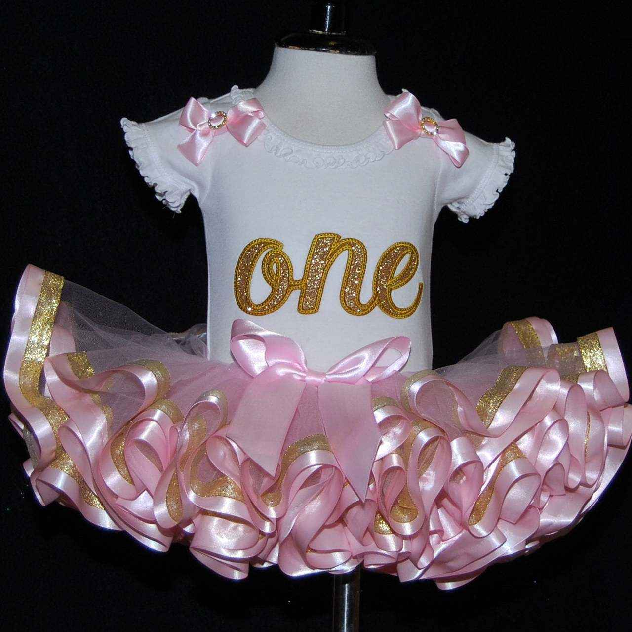 Glitter ONE, 1st birthday outfit pink and gold