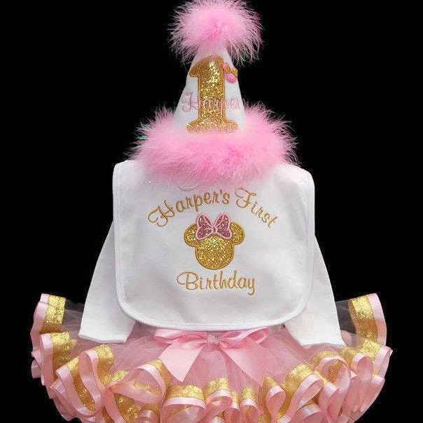 Gold Glitter and Pink Minnie Mouse ONE, 1st birthday girl outfit, with ribbon trimmed tutu, toddler tutu dress, 5 piece set, personalized