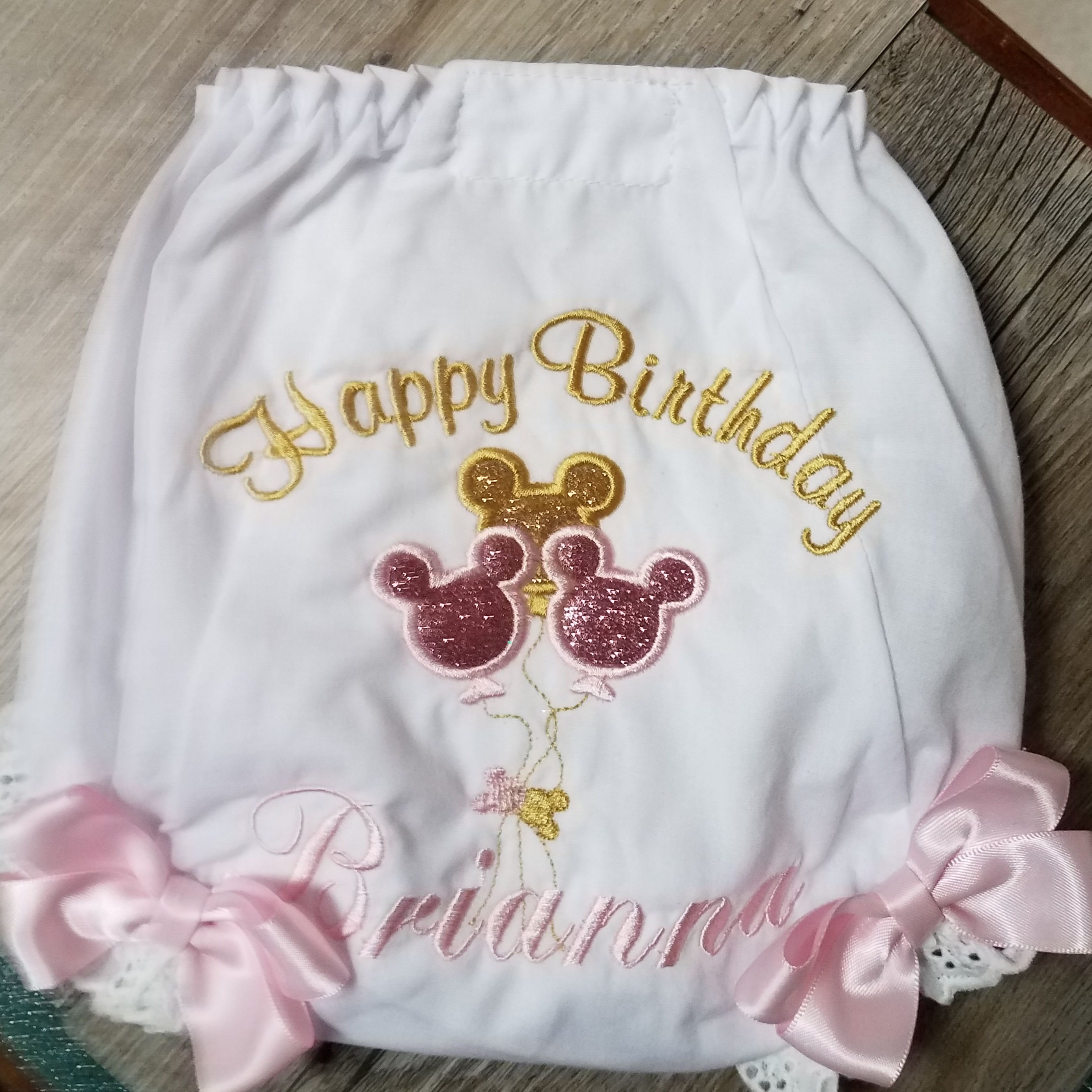 Gold Glitter and Pink  Minnie Mouse ONE, 1st birthday girl outfit, 6 piece set
