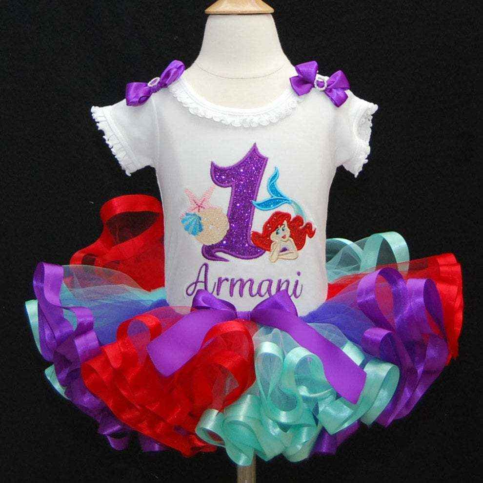 little mermaid birthday tutu outfit bright colors