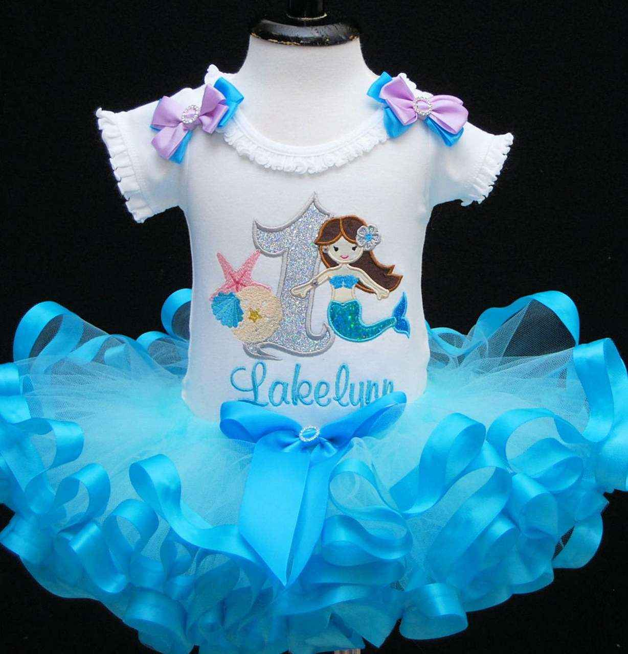 mermaid 1st birthday outfit ,1st birthday girl outfit, blue