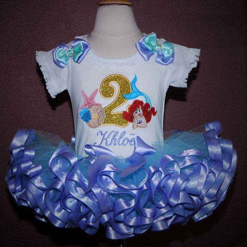 mermaid 2nd birthday outfit, Little Mermaid birthday outfit Ariel shirt personalised second birthday girl outfit cake smash outfit girl tutu e