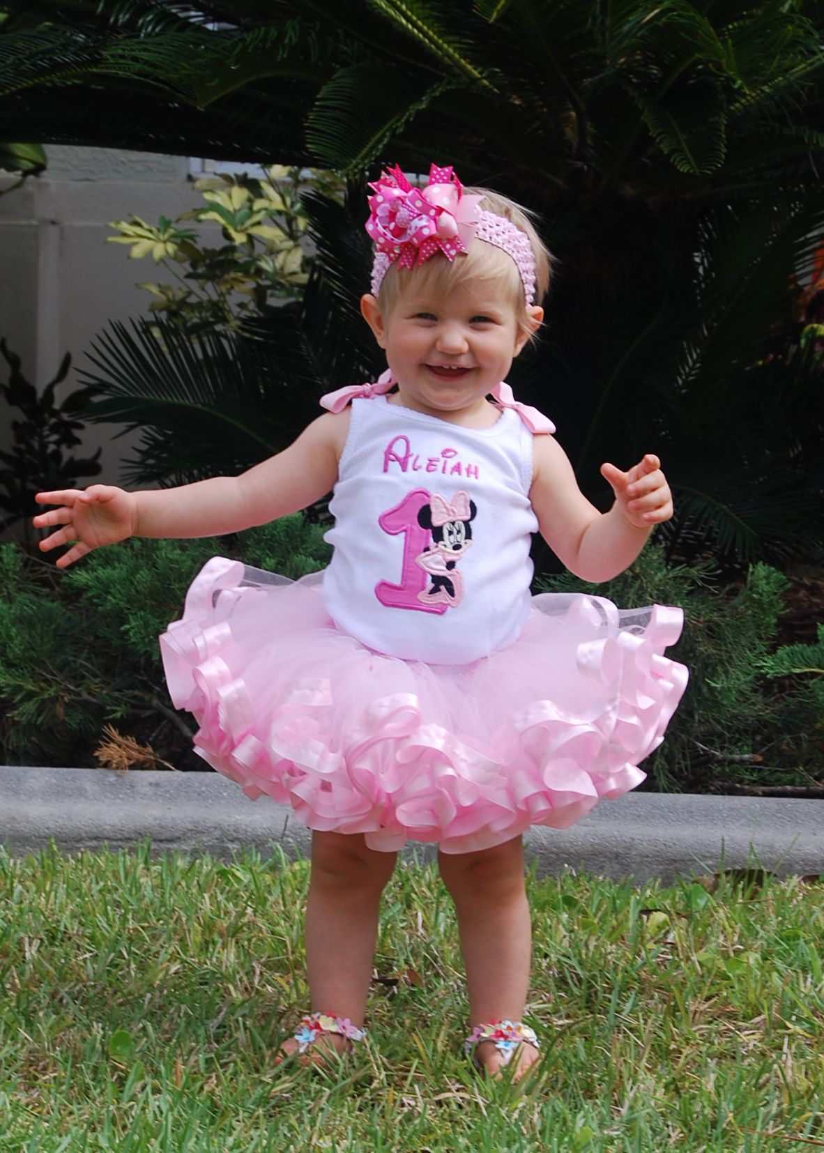 Minnie mouse birthday tutu outfit, 1st birthday outfit girl with ribbon tutu
