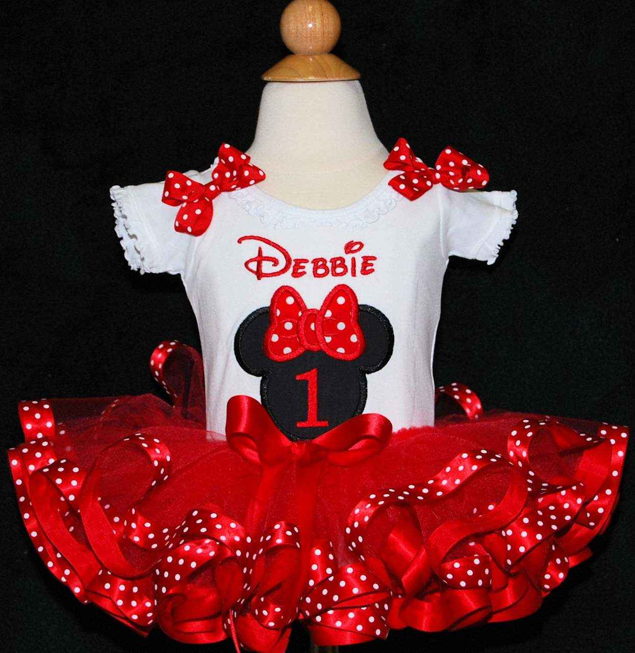 Minnie Mouse 1st Birthday Outfit with ribbon trimmed tutu, personalized onesie and matching bloomers