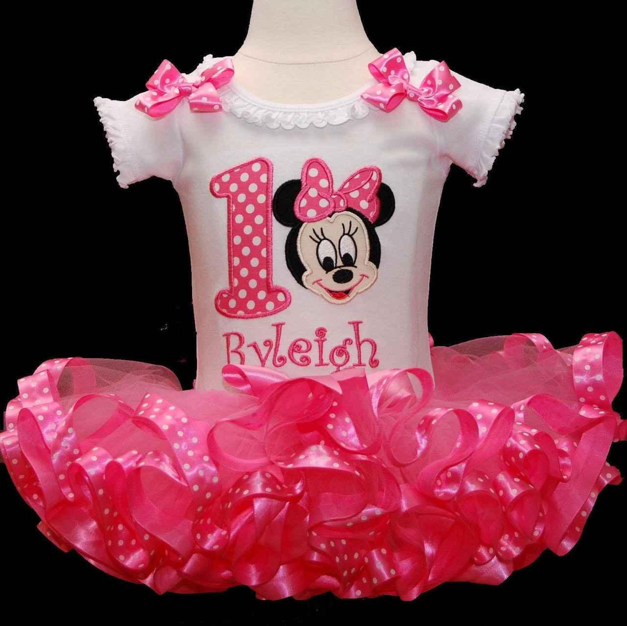 Minnie Mouse 1st Birthday Tutu Outfit, Baby Minnie Mouse tutu outfit, 1st birthday girl, cake smash outfit, birthday tutu dress ribbon trim
