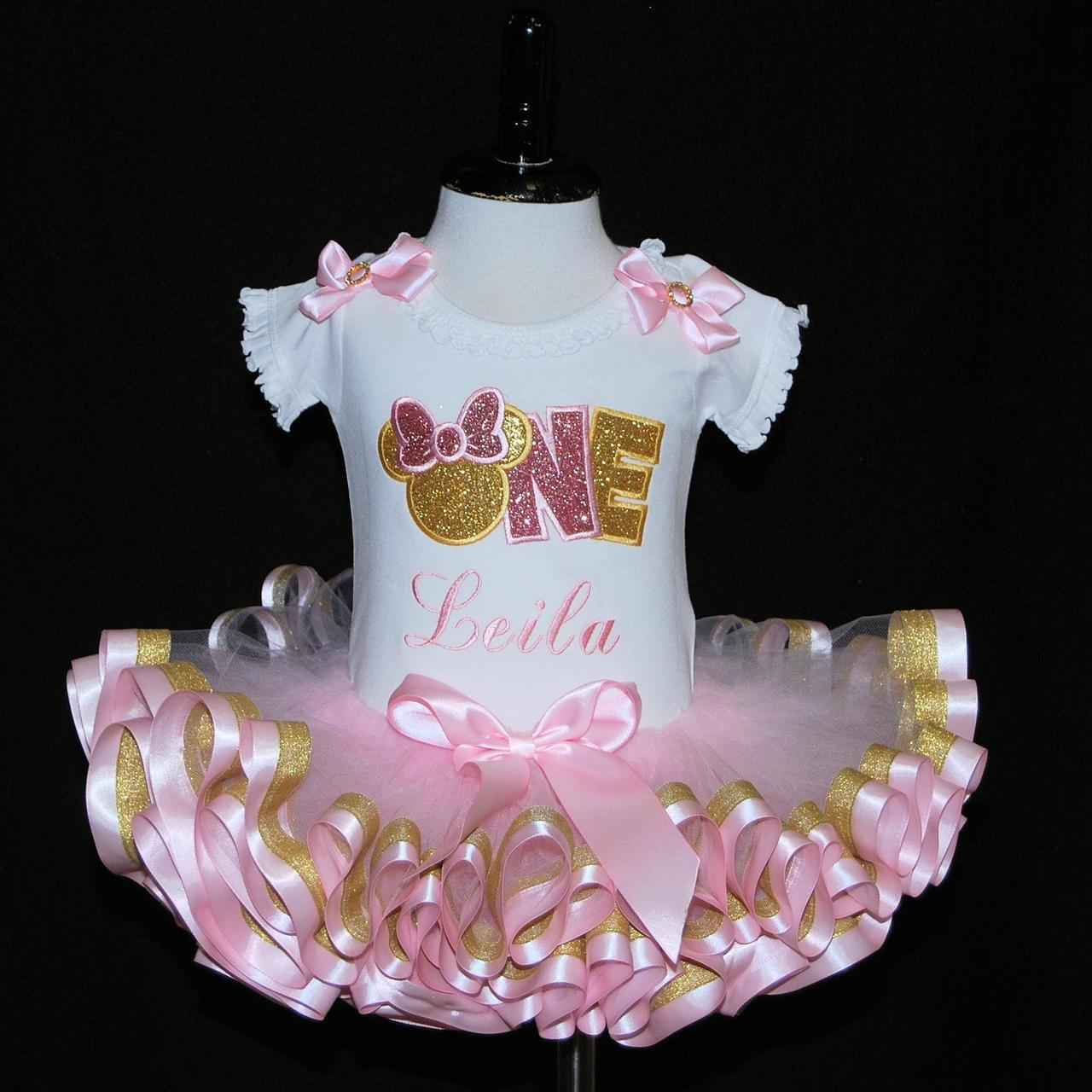 Minnie Mouse birthday outfit 1st birthday pink and gold