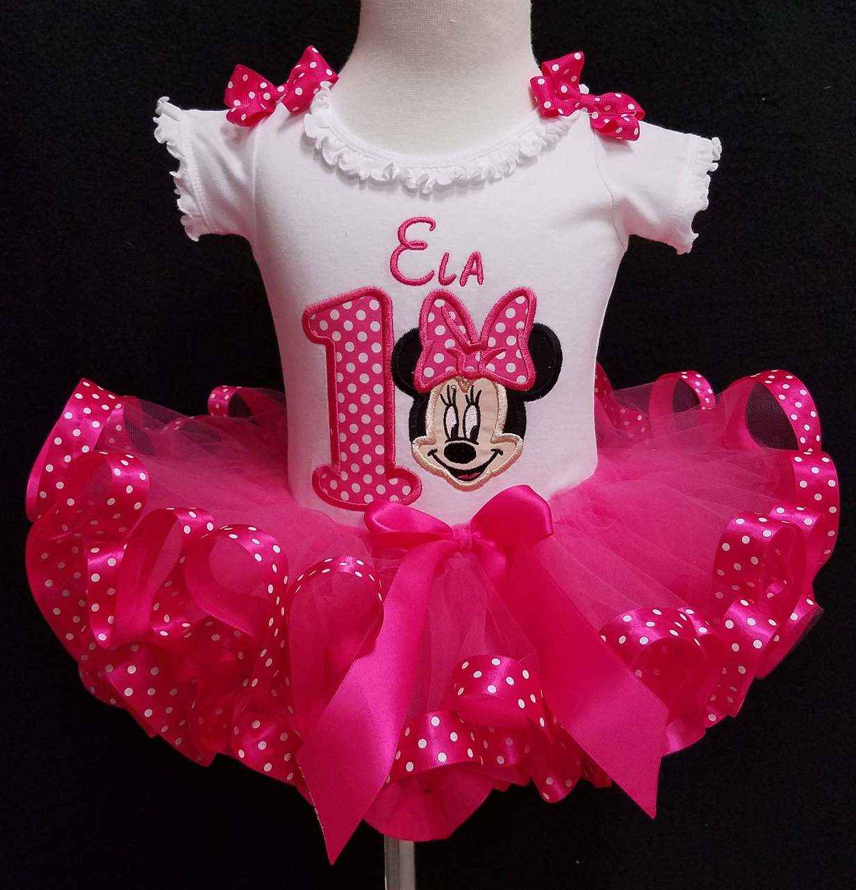 Minnie Mouse Outfit First Birthday- personalized baby first birthday girl outfit- hot pink