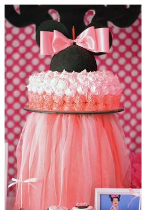 Minnie Mouse Outfit First Birthday-closeup of birthday cake