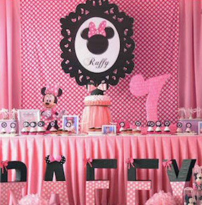Minnie Mouse Outfit First Birthday- party cake table