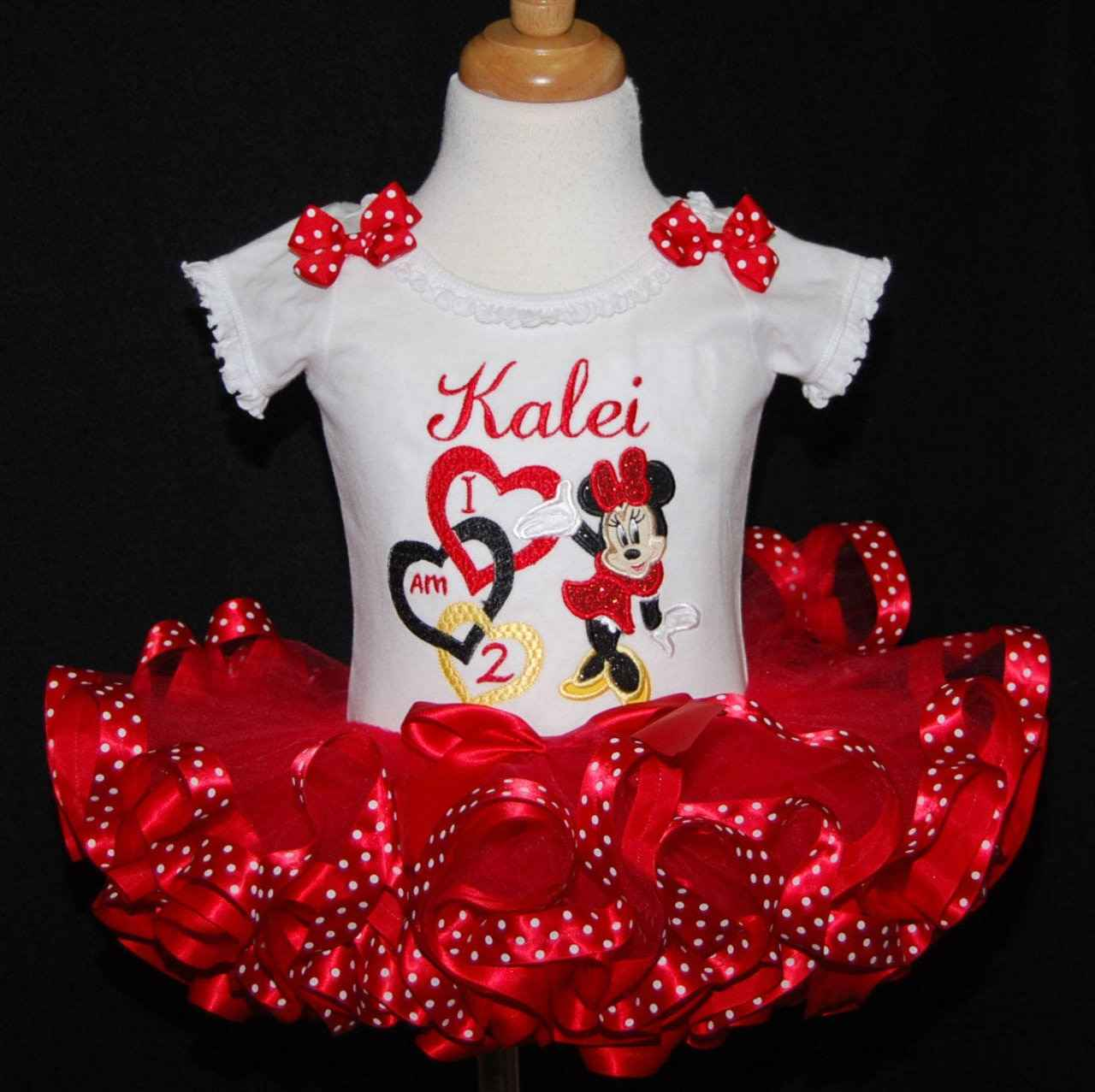 Minnie Mouse 2nd birthday outfit with hearts