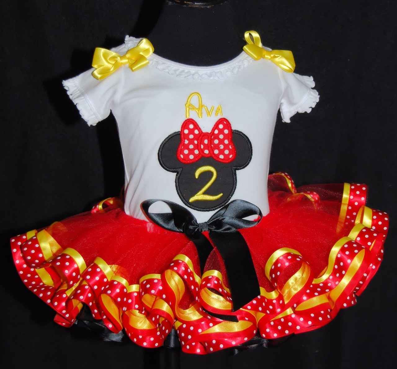 minnie mouse birthday outfit red black and yellow