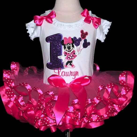 Minnie Mouse birthday outfit, 1st birthday dress for baby girl