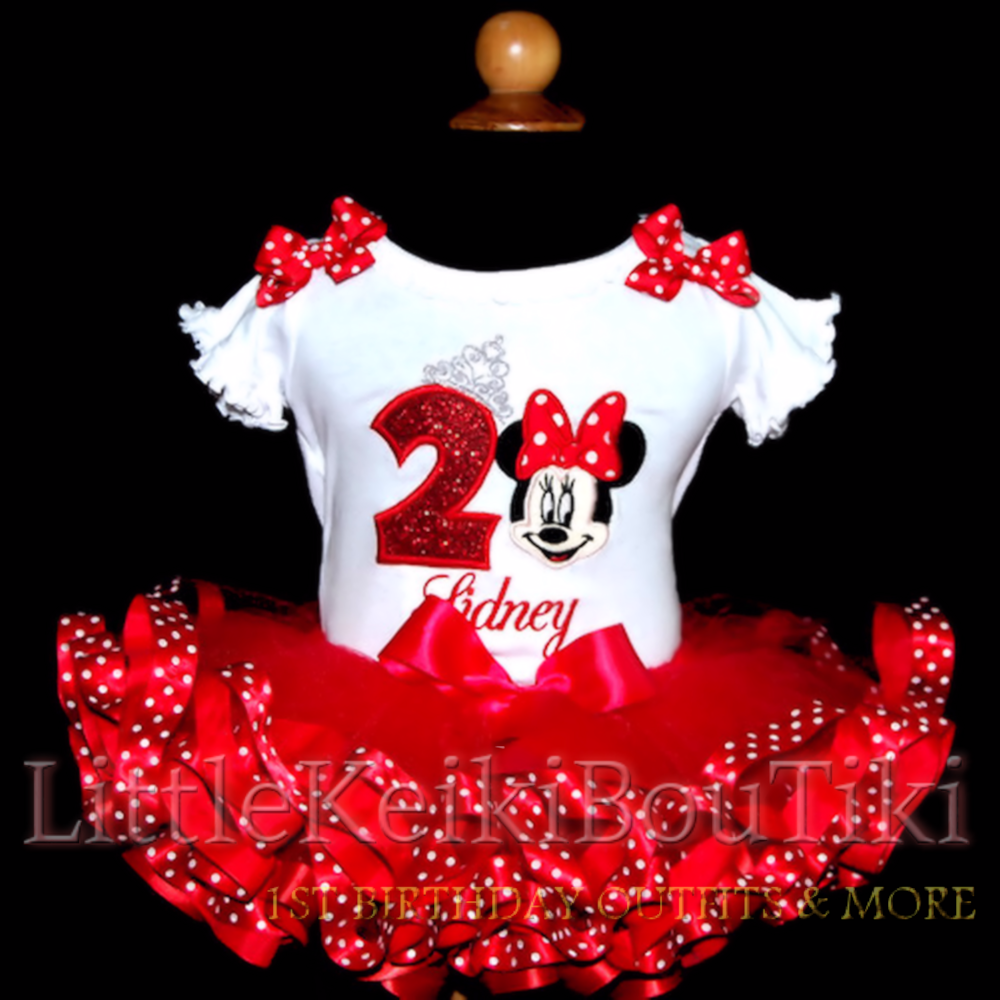 Minnie Mouse Birthday Outfit, minnie mouse tutu, ribbon trim tutu dress, personalized birthday shirt, minnie mouse party, red tutu, bloomers