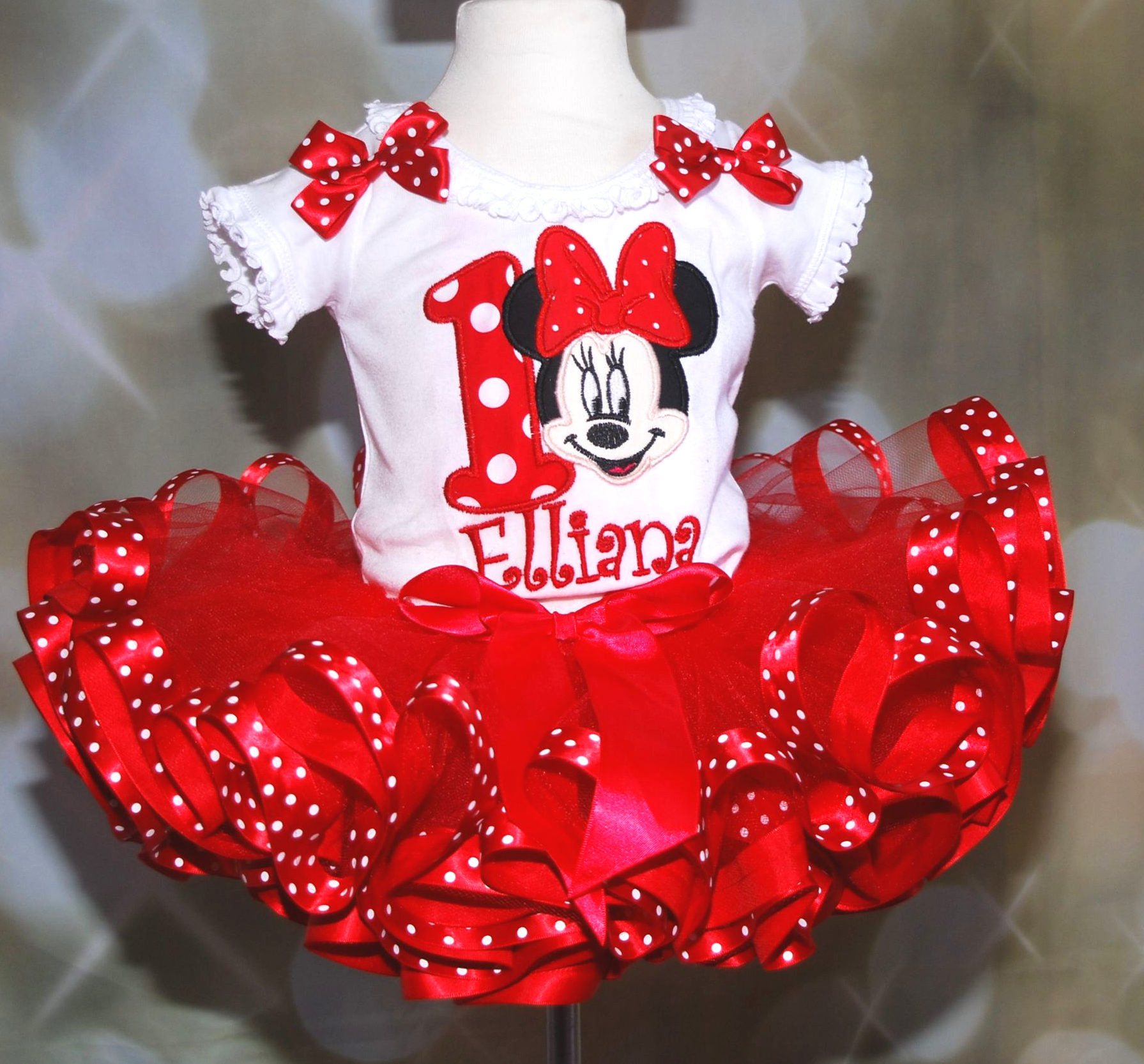 Red Minnie Mouse Outfit 1st birthday