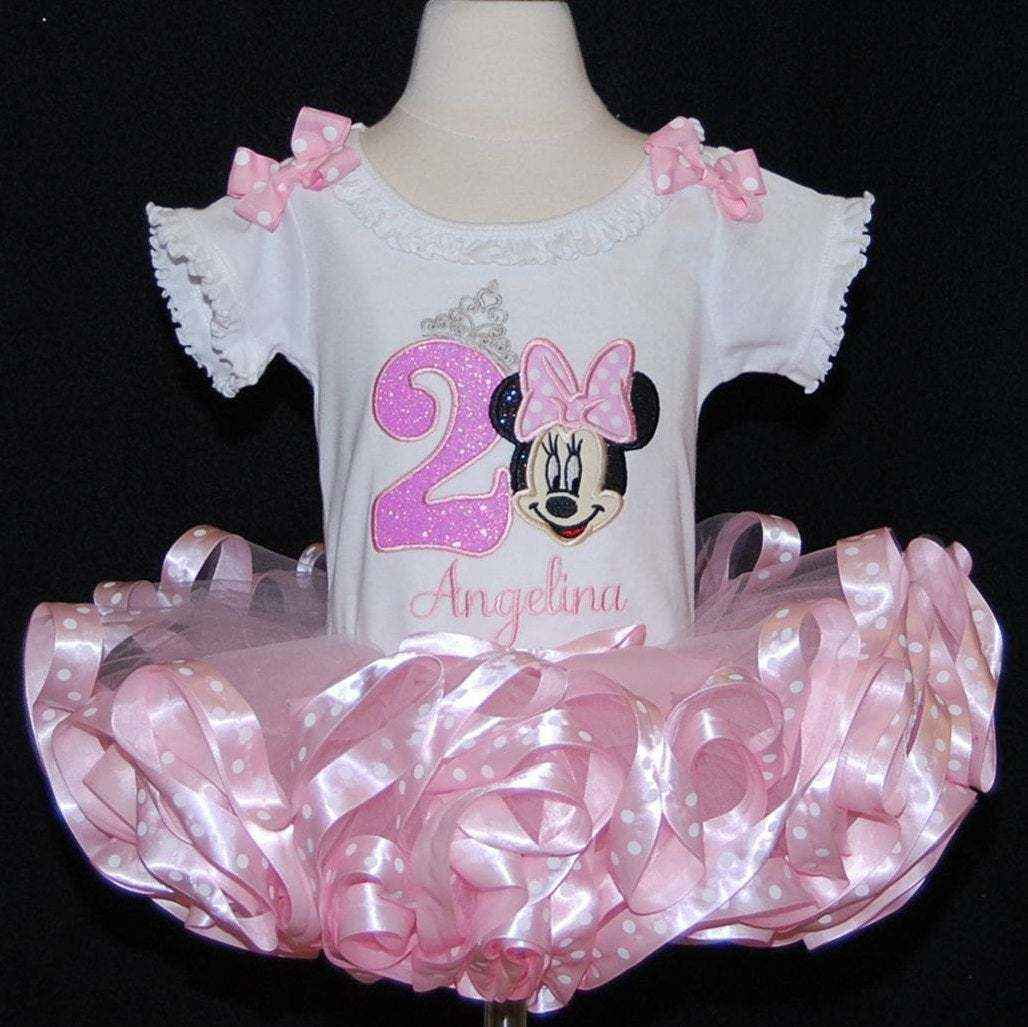 Minnie Mouse birthday tutu outfit glitter birthday dress 2nd birthday tutu outfit, ribbon trim tutu, second birthday girl outfit, tutu dress