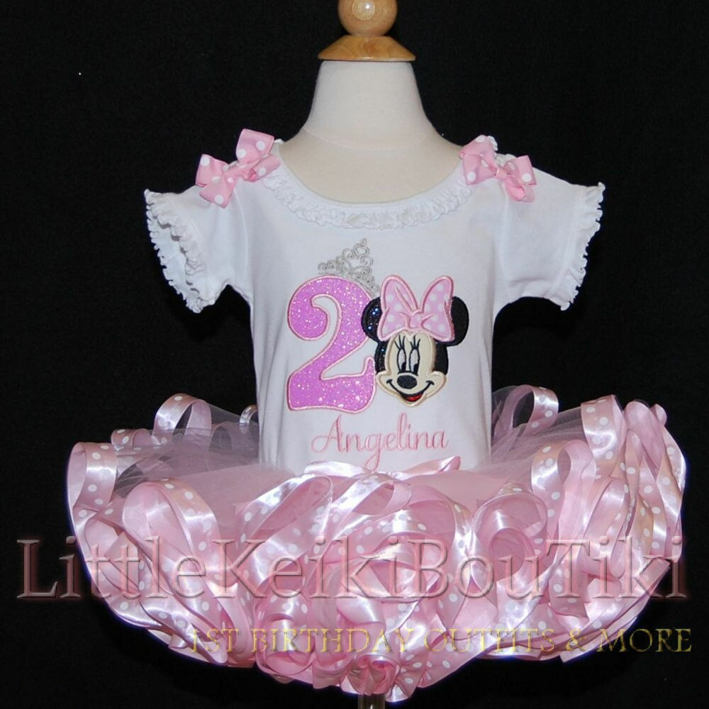 Princess Minnie Mouse birthday tutu outfit- 2nd birthday tutu outfit with a ribbon trimmed tutu