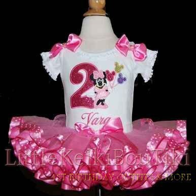 Minnie Mouse birthday tutu outfit-2nd birthday tutu outfit, ribbon trim tutu