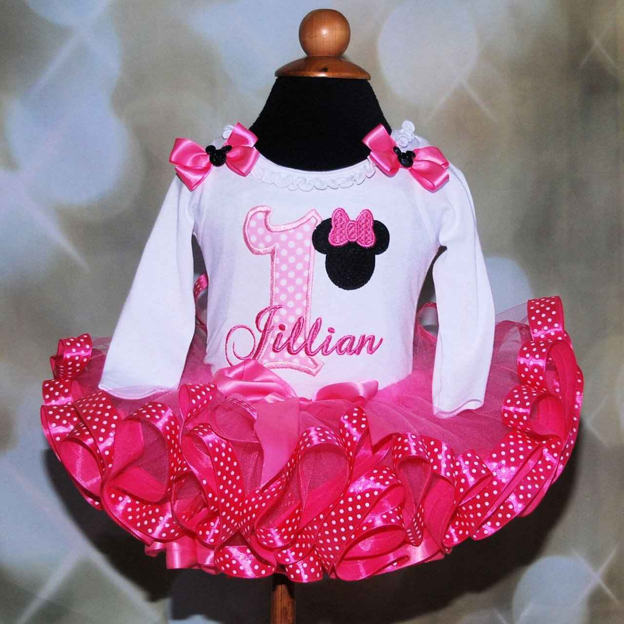 Minnie Mouse birthday tutu outfit glitter birthday ,dress 2nd birthday tutu outfit, ribbon trim tutu, second birthday girl outfit, tutu dress