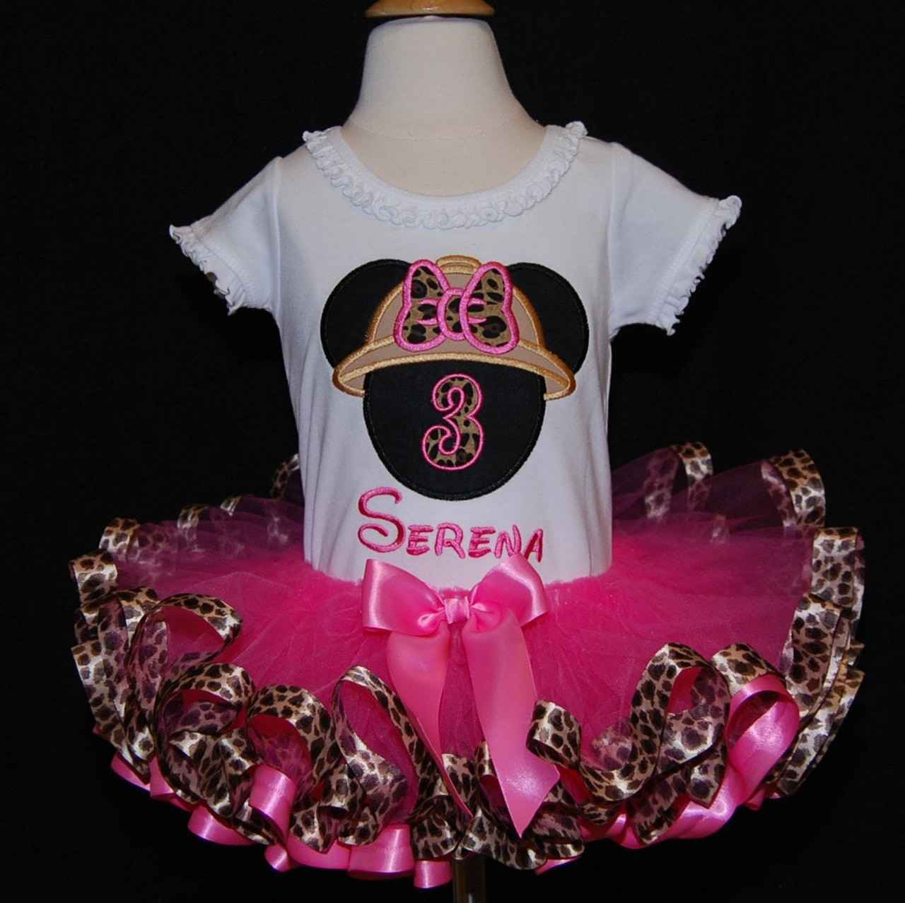 Minnie Mouse birthday tutu outfit glitter birthday dress 3rnd birthday tutu outfit, ribbon trim tutu, second birthday girl outfit