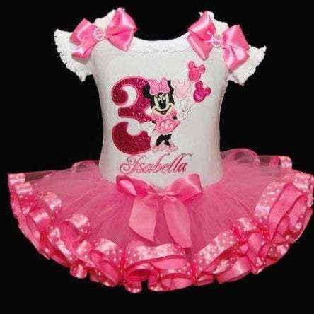 Miss Mouse Birthday Outfit 3rd birthday ribbon trim tutu
