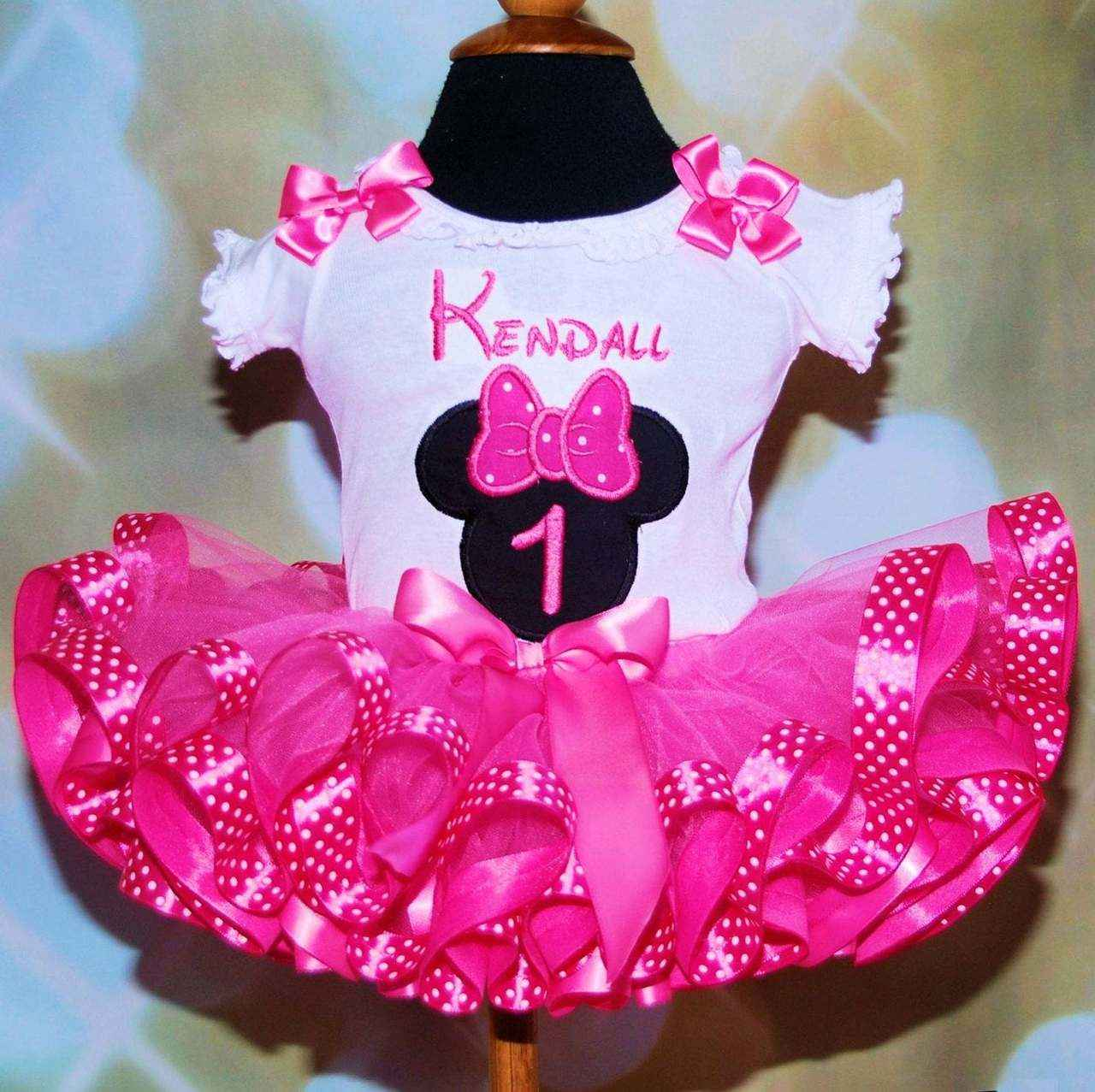 Miss Mouse Birthday Tutu Outfit embroidered top ribbon trimmed 1 st birthday