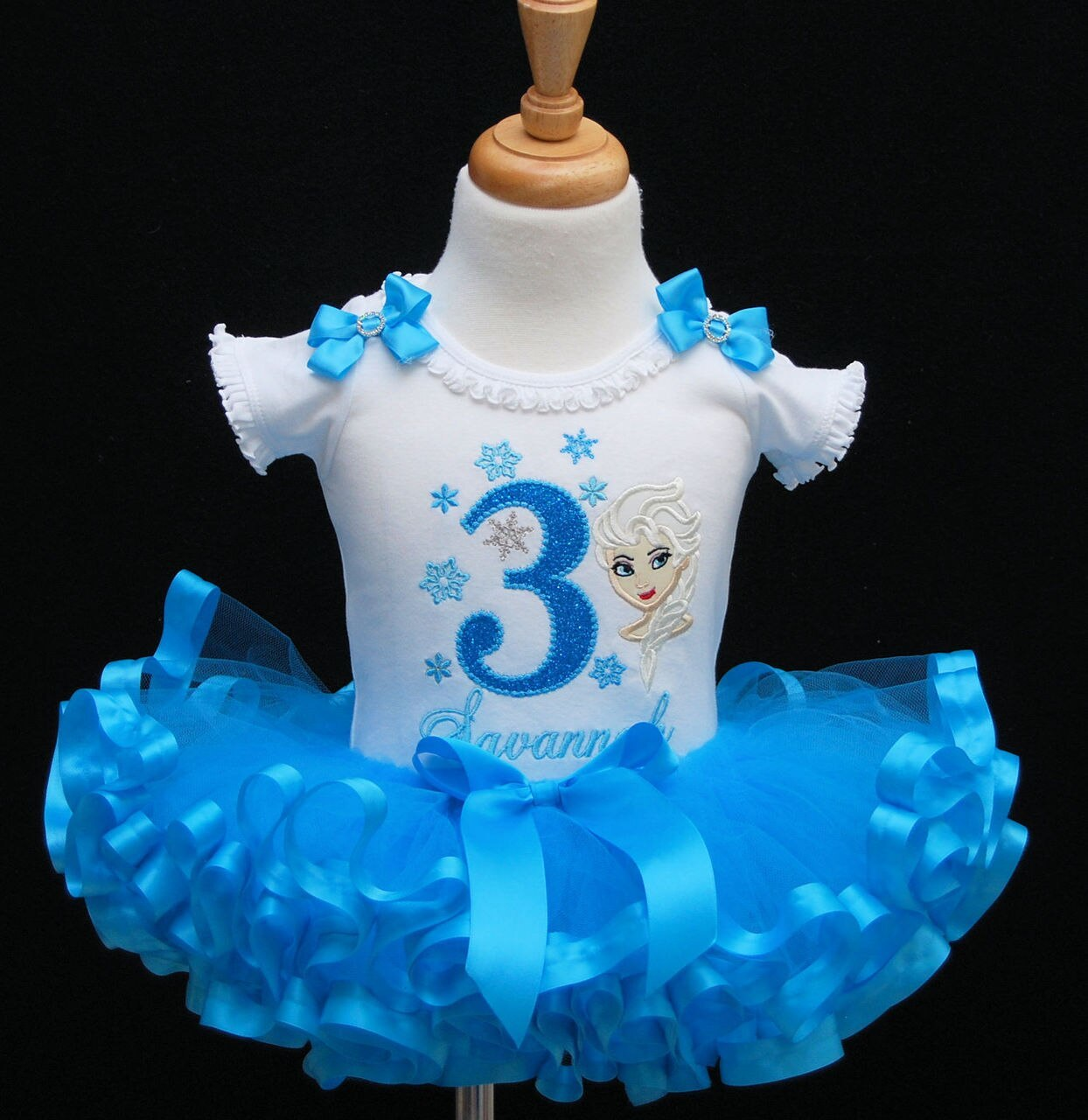 Frozen Birthday Outfit-Elsa 3rd birthday outfit-ribbon trimmed tutu