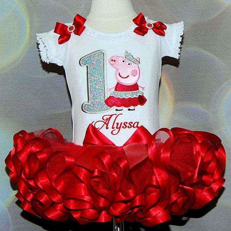 Peppa Pig birthday outfit 1st birthday girl outfit glitter number birthday dress princess peppa 1st birthday ribbon tutu personalized shirt