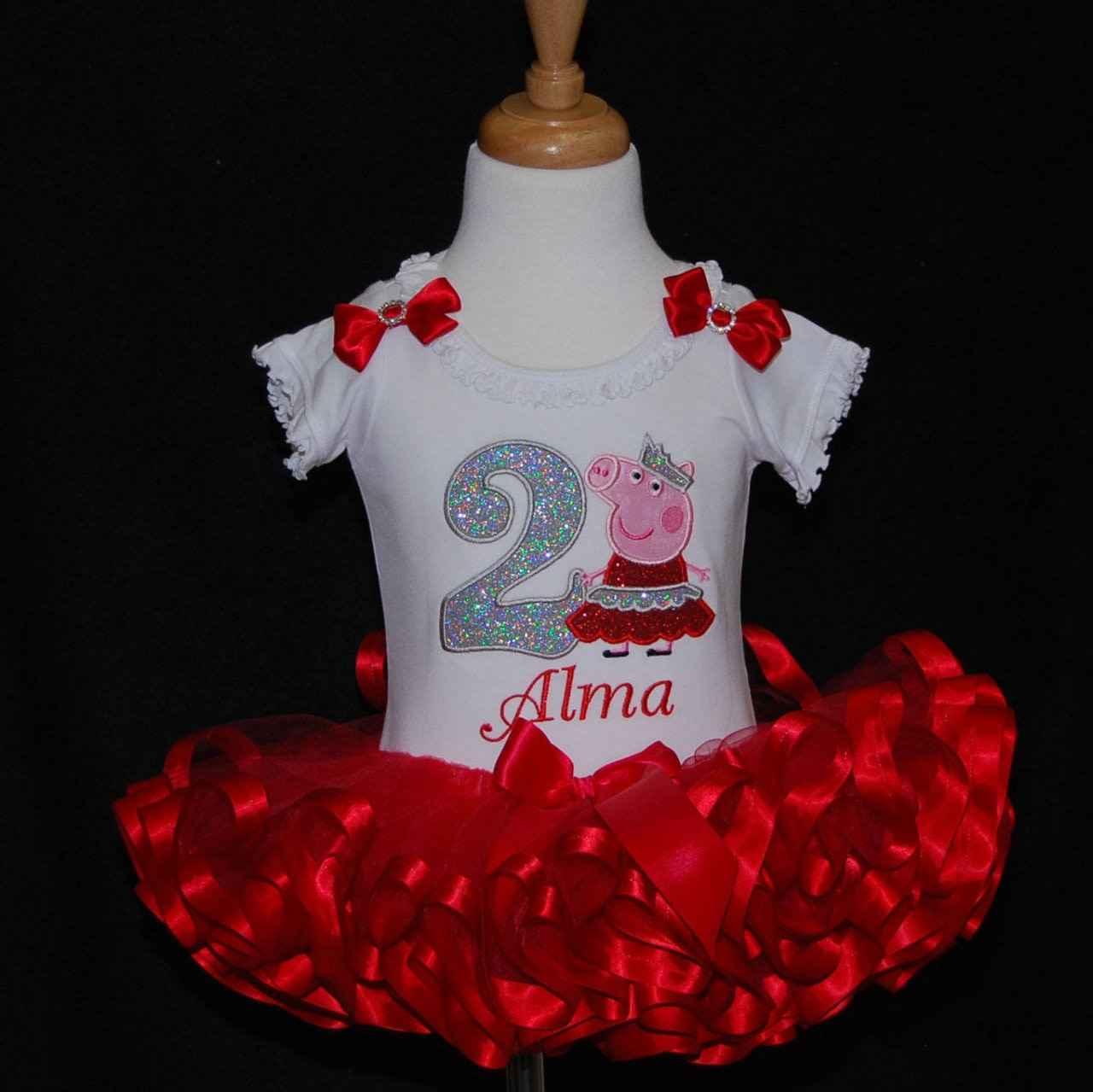 peppa pig birthday outfit 2nd Birthday Tutu Princess Peppa Pig Birthday Outfit toddler tutu birthday dress glitter number birthday shirt