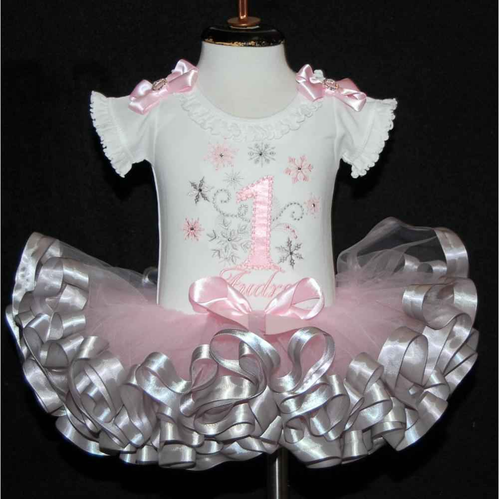 Winter Onderland 1st birthday outfit pink and Silver