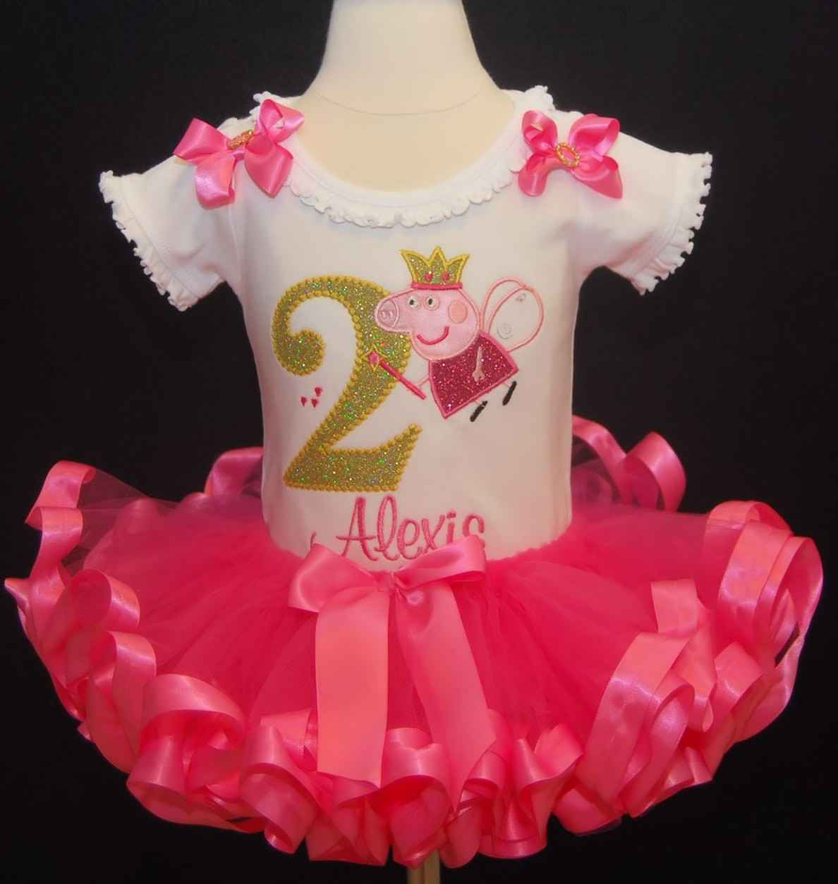 Peppa Pig inspired Birthday outfit-ruffle pants-ribbon trimmed tutu