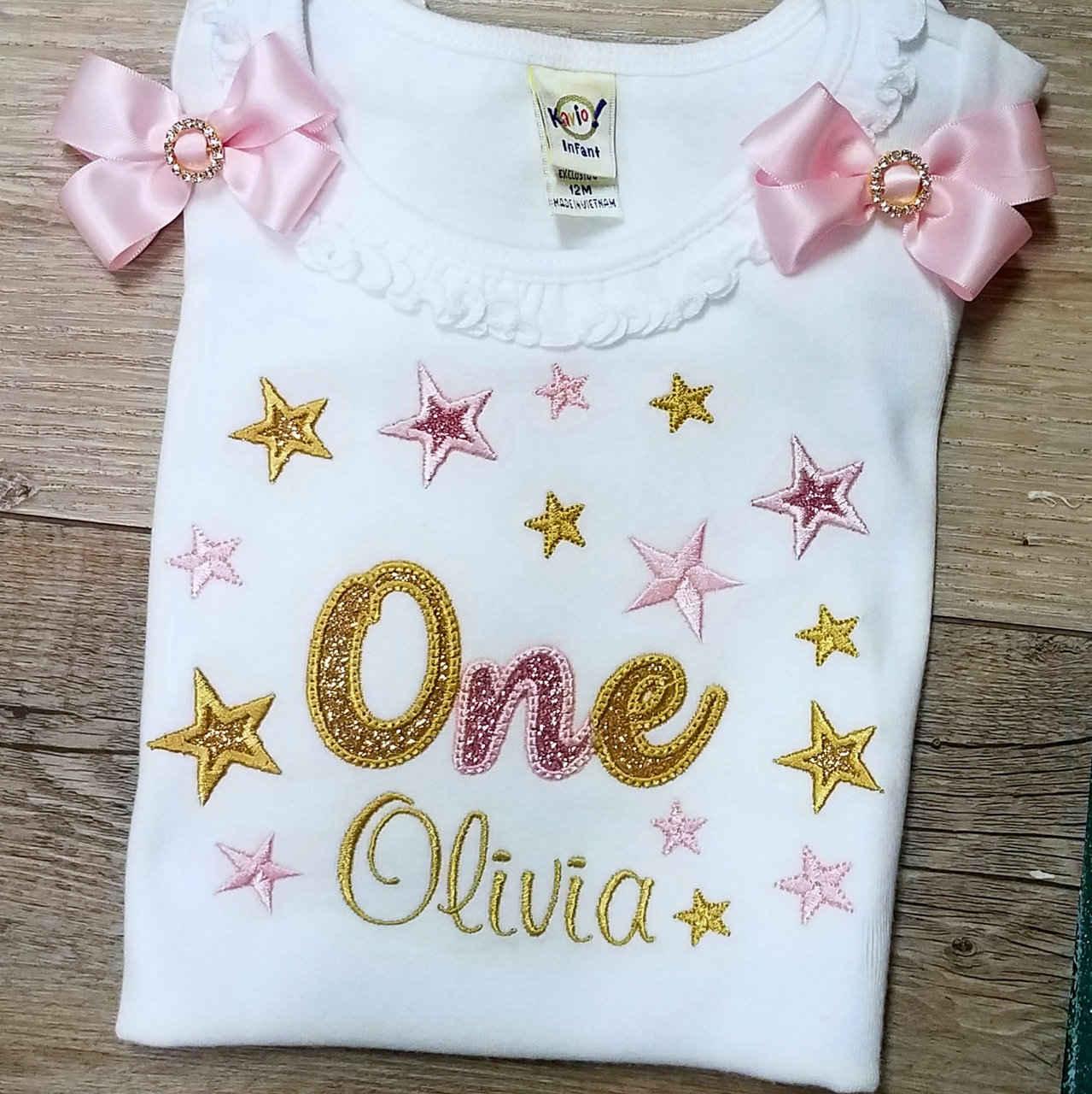 personalized birthday shirt 1st birthday shirt sparkle one birthday shirt with stars, Glitter birthday custom made personalized shirt