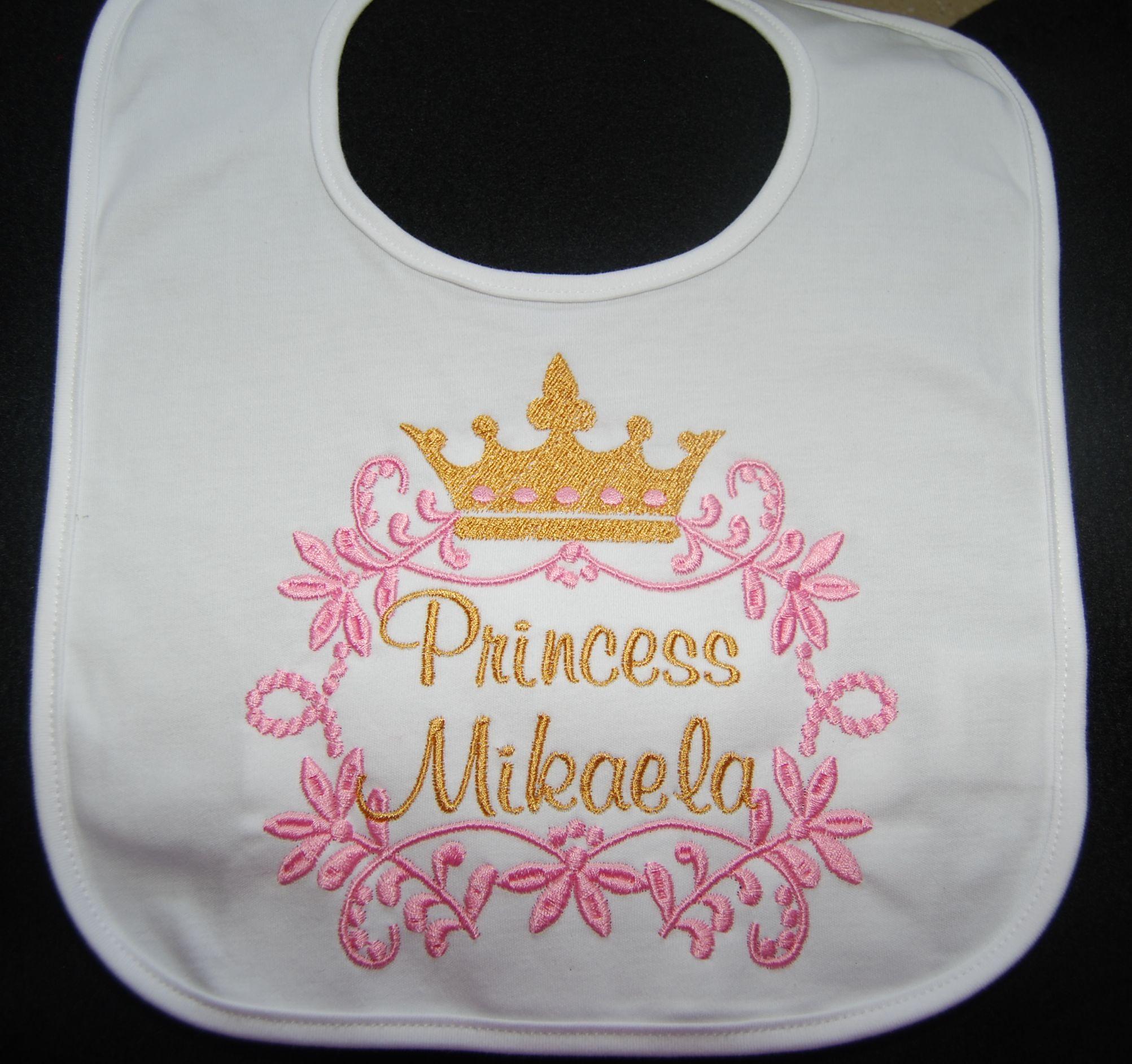 white bib , Princess Happy Birthday bibi to matcu pink and gold birthday  outfit gorl