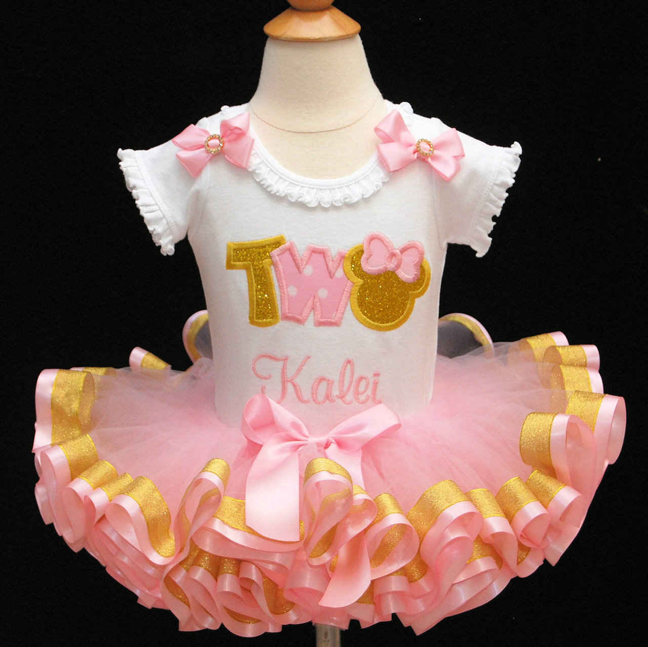 pink and gold birthday outfit Minnie Mouse 2nd Birthday outfit girl pink and gold tutu outfit ribbon trim tutu birthday outfit tutu dress