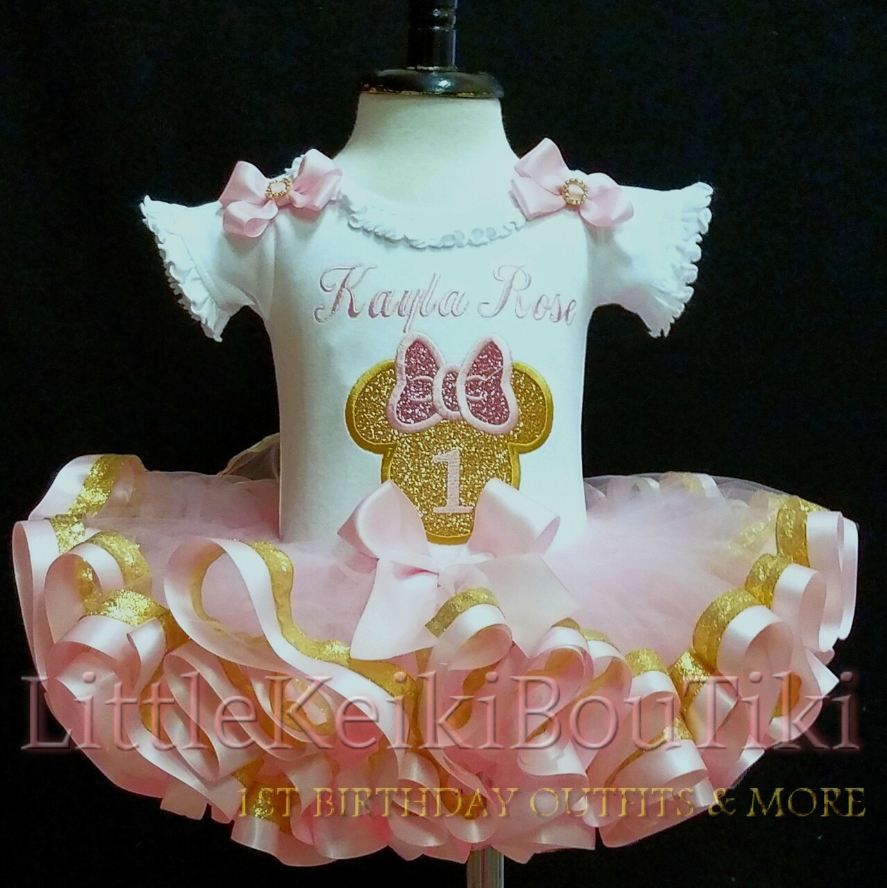 pink and gold Minnie mouse birthday outfit 1st birthday minnie mouse pink and gold birthday babys 1st birthday outfit girl ribbon trimmed