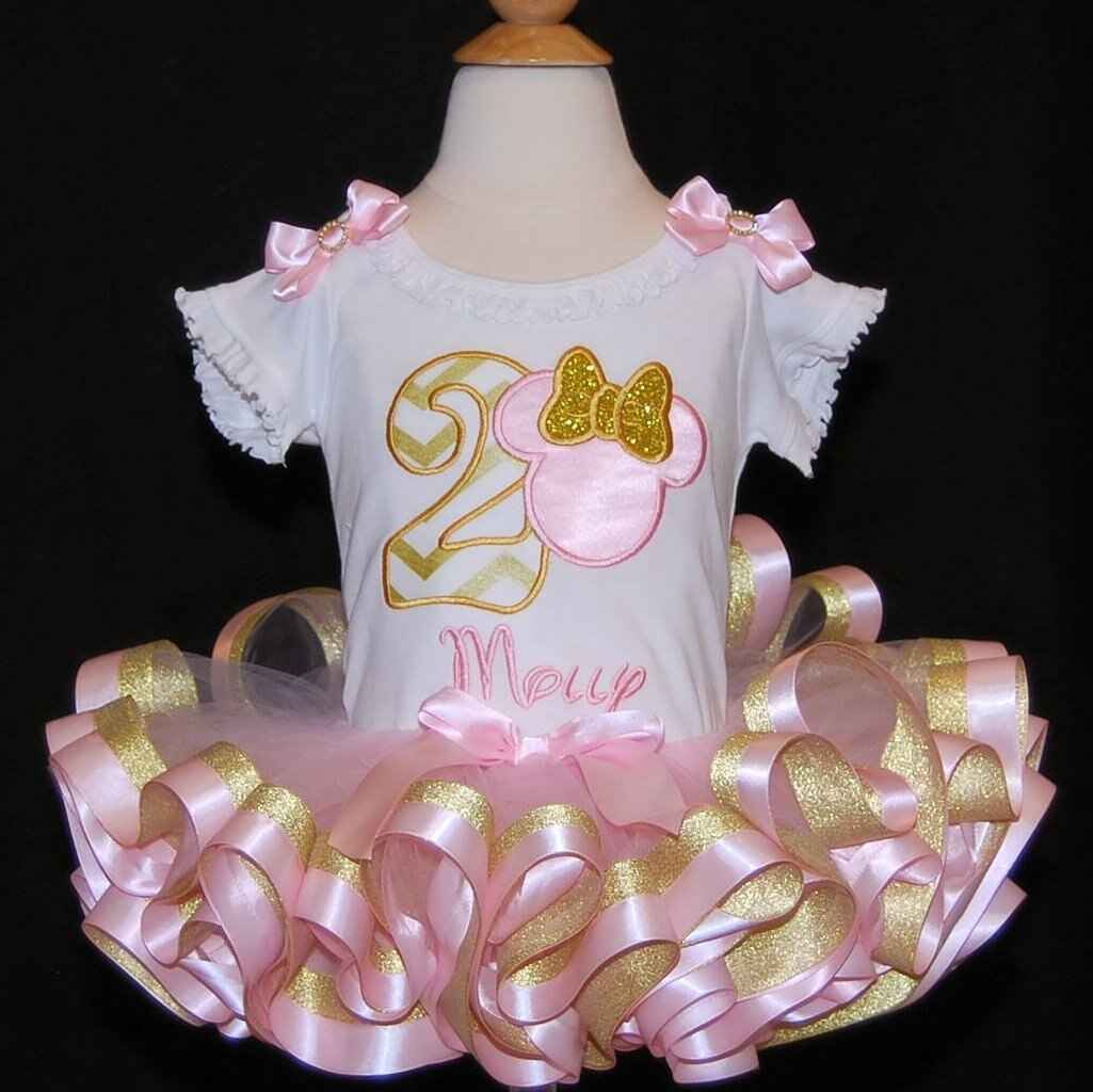 pink and gold minnie mouse birthday outfit 2nd birthday girl outfit minnie mouse birthday outfit cake smash outfit ribbon trimmed tutu dress