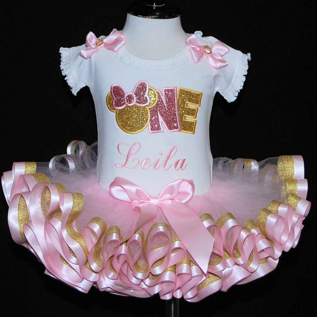 Minnie Mouse 1st birthday outfit-with   ribbon trimmed tutu-pink and gold