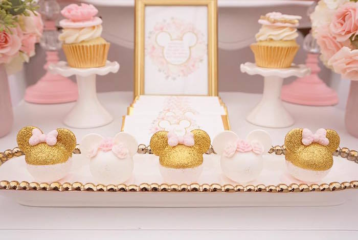 1st birthday party decor pink and gold. Custom Birthday Outfits- Minnie Mouse Birthday Outfit