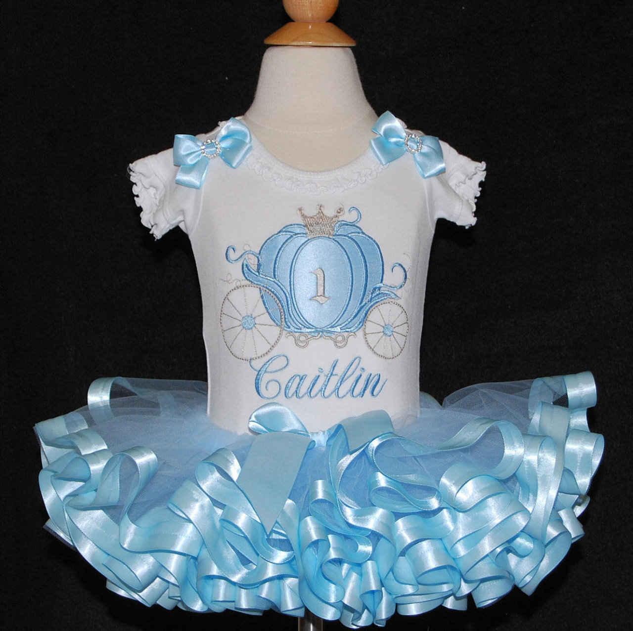 Princess 1st Birthday Outfit- Blue and Silver Cinderella princess-birthday-tutu-set-custom-birthday-outfits-girl-birthday-outfit-ideas