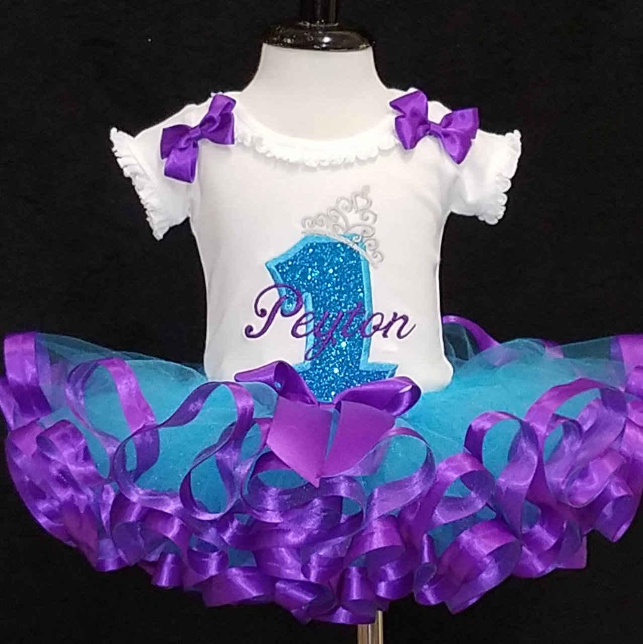 princess birthday tutu, cake smash set turquoise and purple