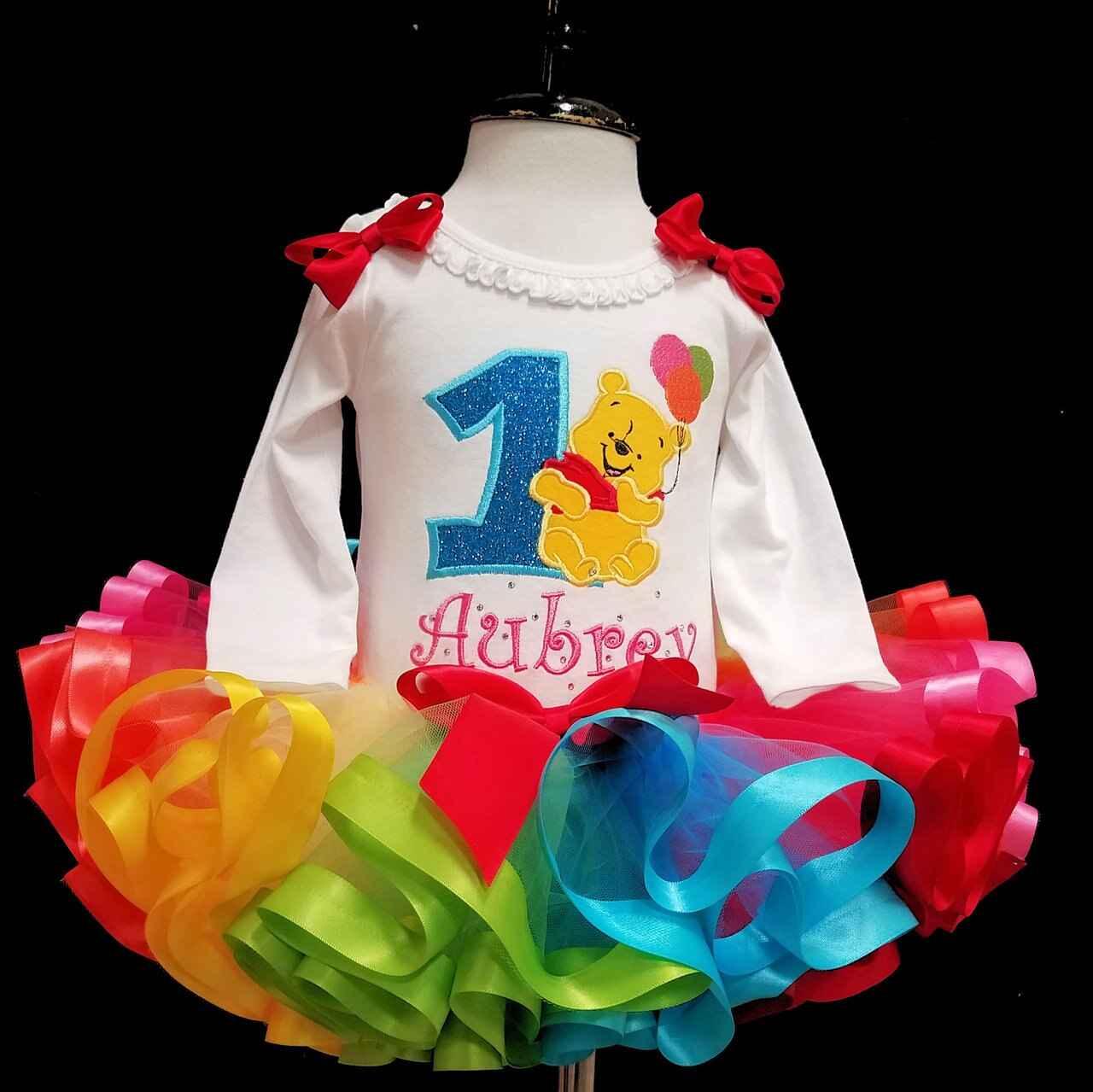 First Birthday girl outfit, Baby Pooh Bear, first birthday rainbow tutu dress